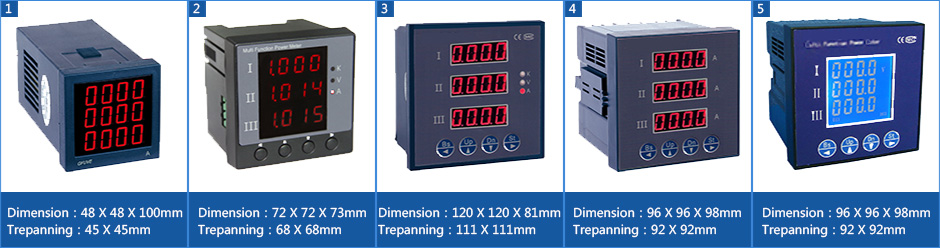 three phase voltage display meter